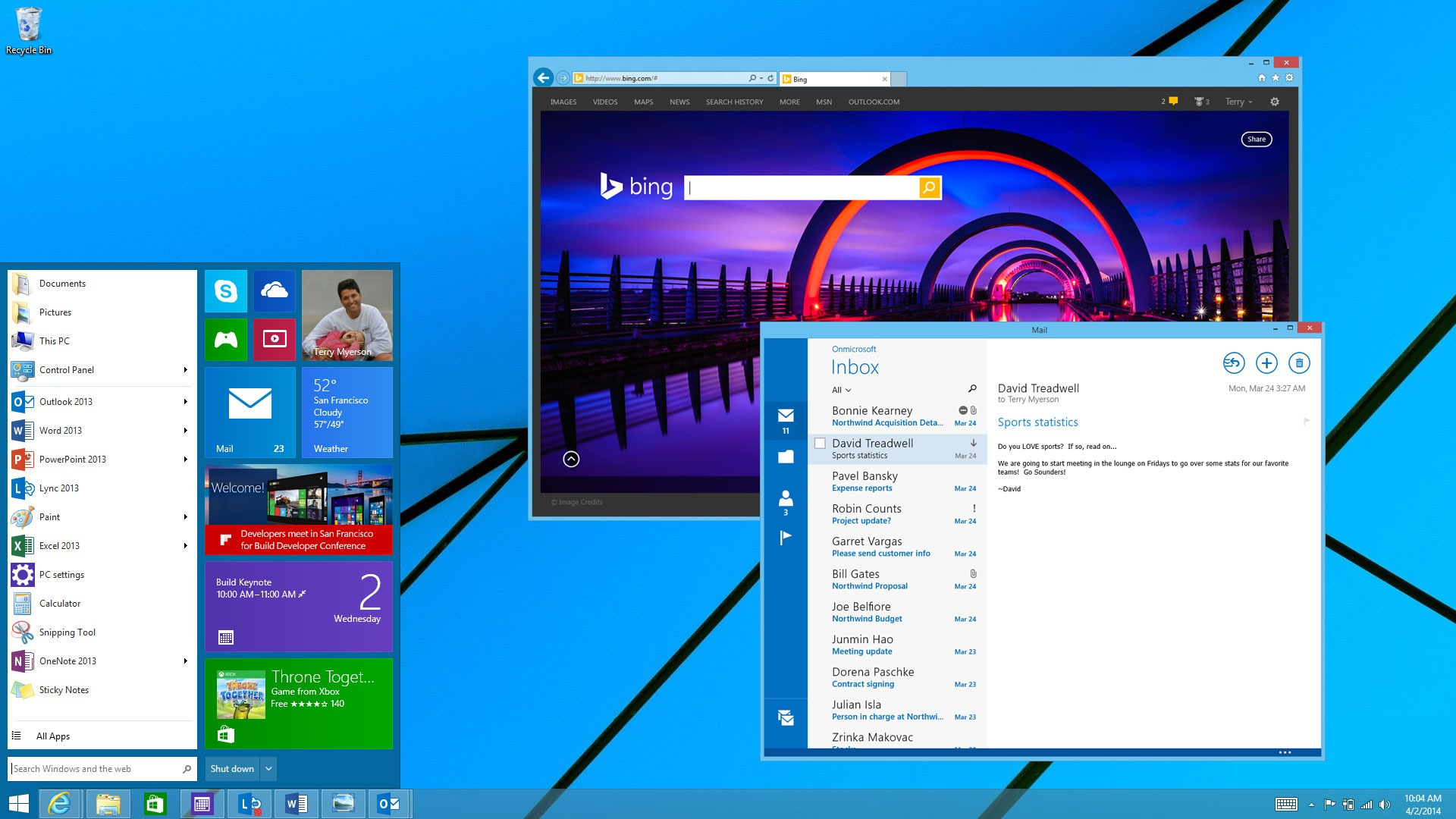 Microsoft's screenshot showed both the Start menu/Start screen hybrid <em>and</em> windowed Metro apps, but current rumors suggest they won't arrive at the same time.