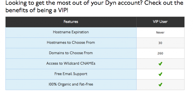 "Dyn's service comparison chart no longer features a ""free"" column."