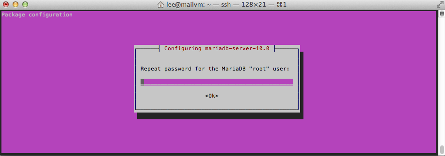The Purple Screen—seems like these preconfig screens on Linux are always purple.