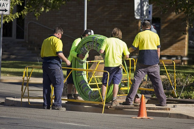 Fiber optic cable being laid in Australia.