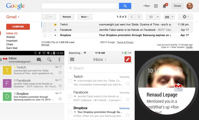 Top: Desktop Gmail. Bottom: Gmail on Android, iOS, and Android Wear.