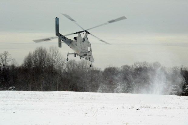 K-Max helicopter equipped with the Autonomous Aerial Cargo/Utility System (AACUS) technology during an Office of Naval Research (ONR) demonstration.
