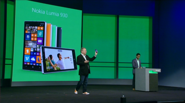 Elop shows off the Lumia 930, an enhanced version of the Lumia Icon that will not be sold in the US.  Sorry.