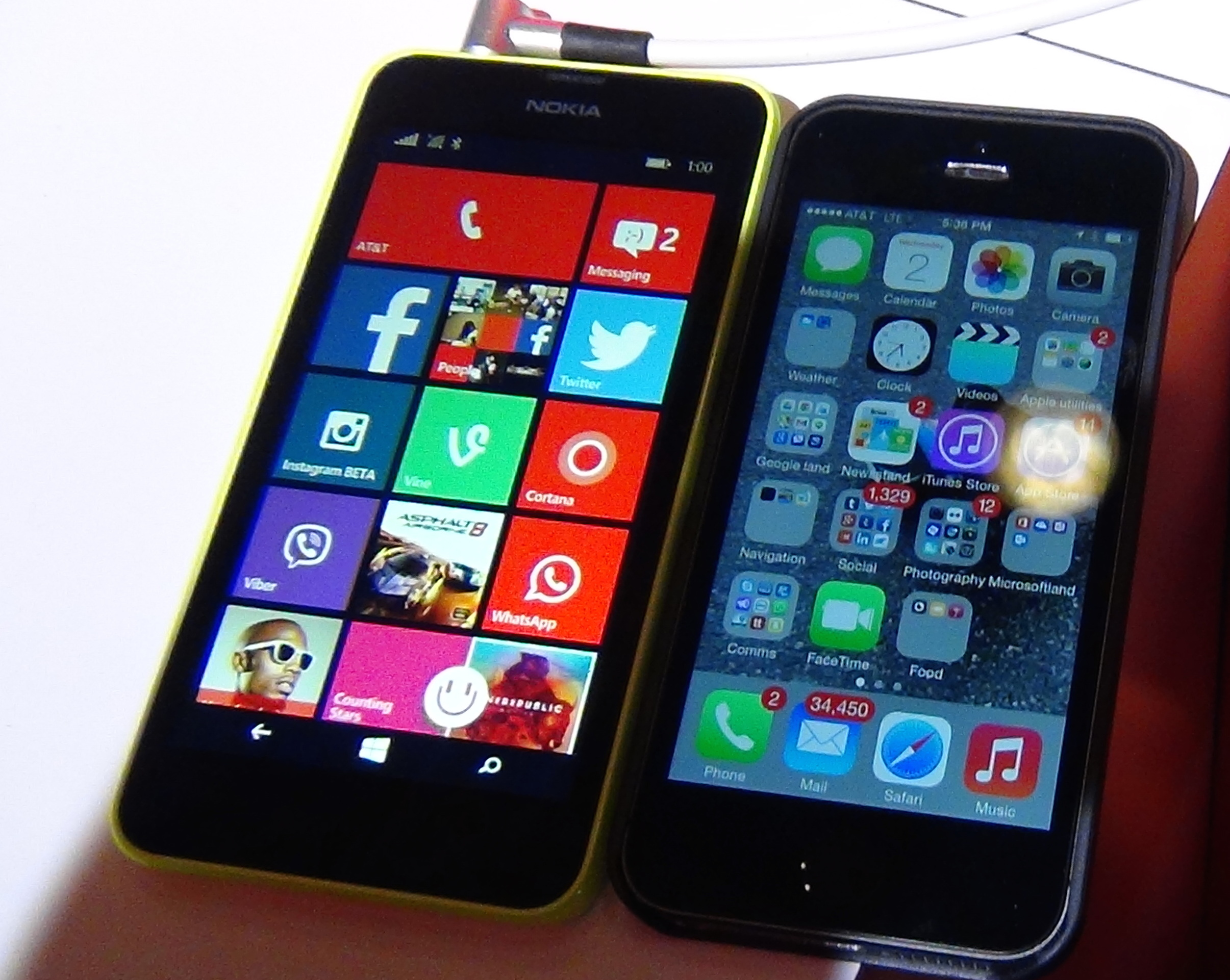 The Lumia 635, side by side with my iPhone 5S. Not a fair comparison on many counts, I know.