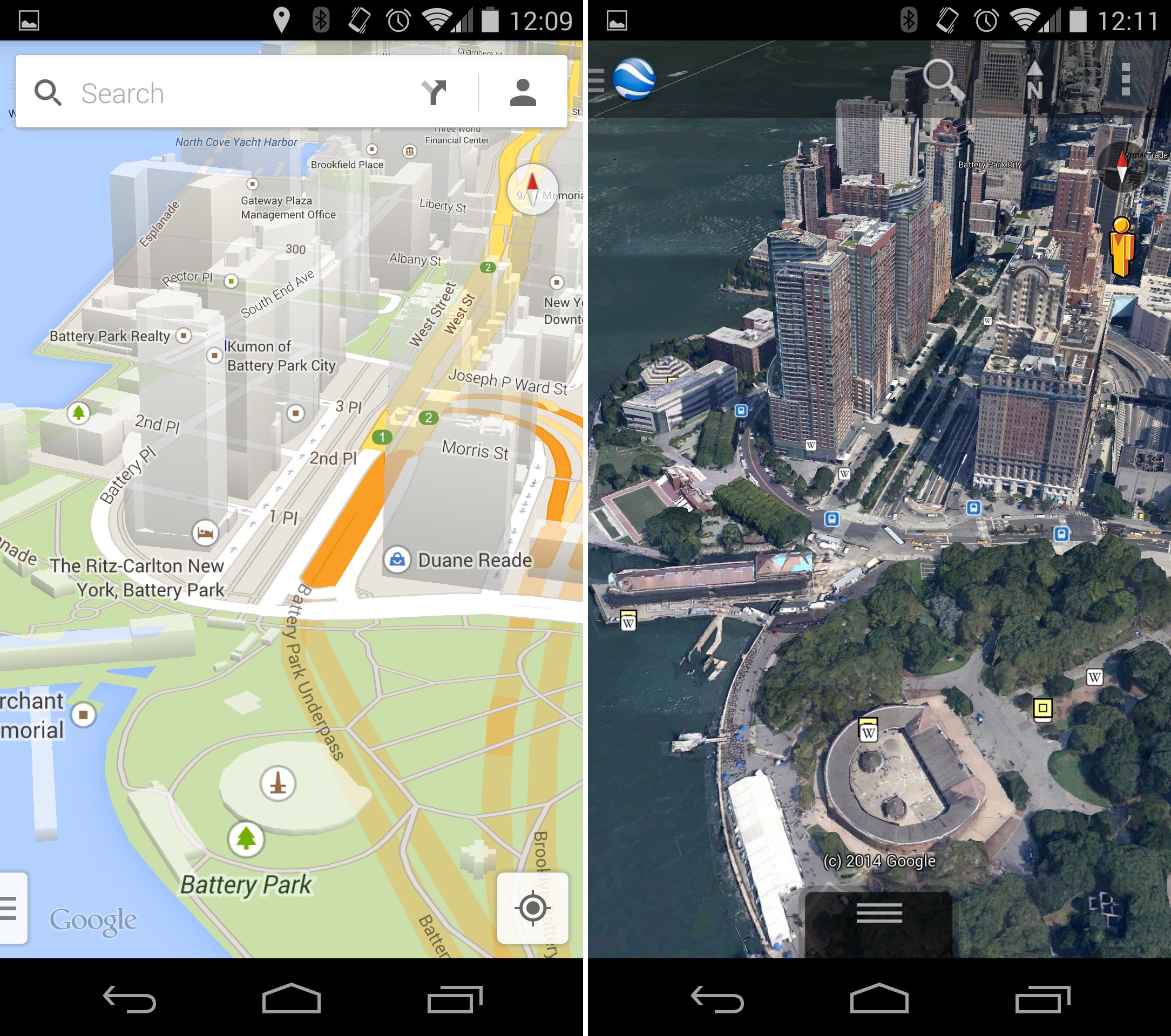 The Android Google Maps and Google Earth clients.