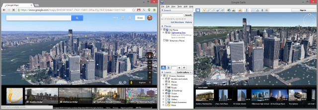 "The ""Google Earth layer"" in Google Maps versus the Google Earth desktop application."