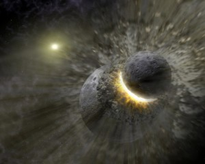 Artist's rendition of the giant impact scenario, in which a planetesimal collides with the young Earth.