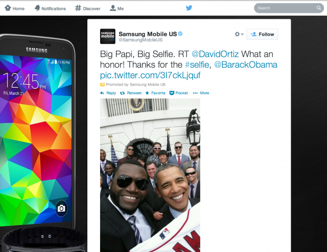 Samsung's promoted tweet, with a photo captured by baseball player David Ortiz of himself and the President.