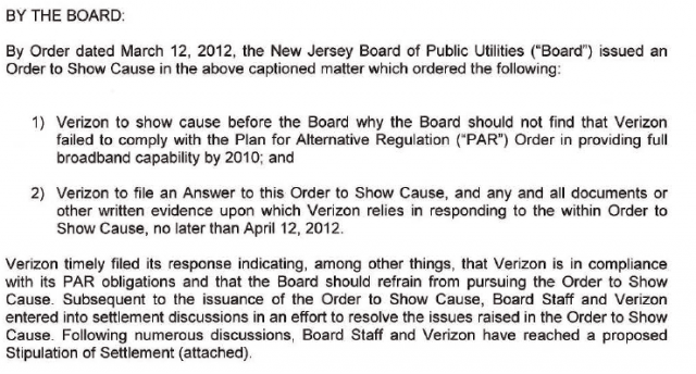 Verizon's proposed settlement with the state utility board.