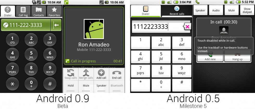 The dialer and in-progress call screen with the menu open.