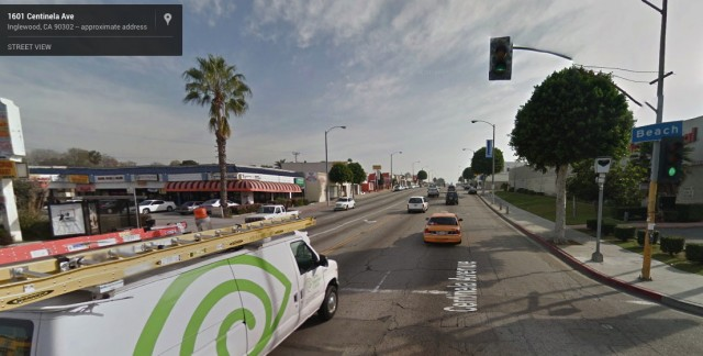 This is the intersection in Inglewood, California, where Carmen Goldsmith was captured running a red light.
