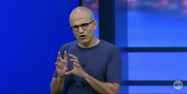 Satya Nadella presenting at Build 2014.