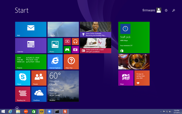 The Windows taskbar can now appear on top of the Start screen, and full-screen Modern/Metro apps can be pinned to it.