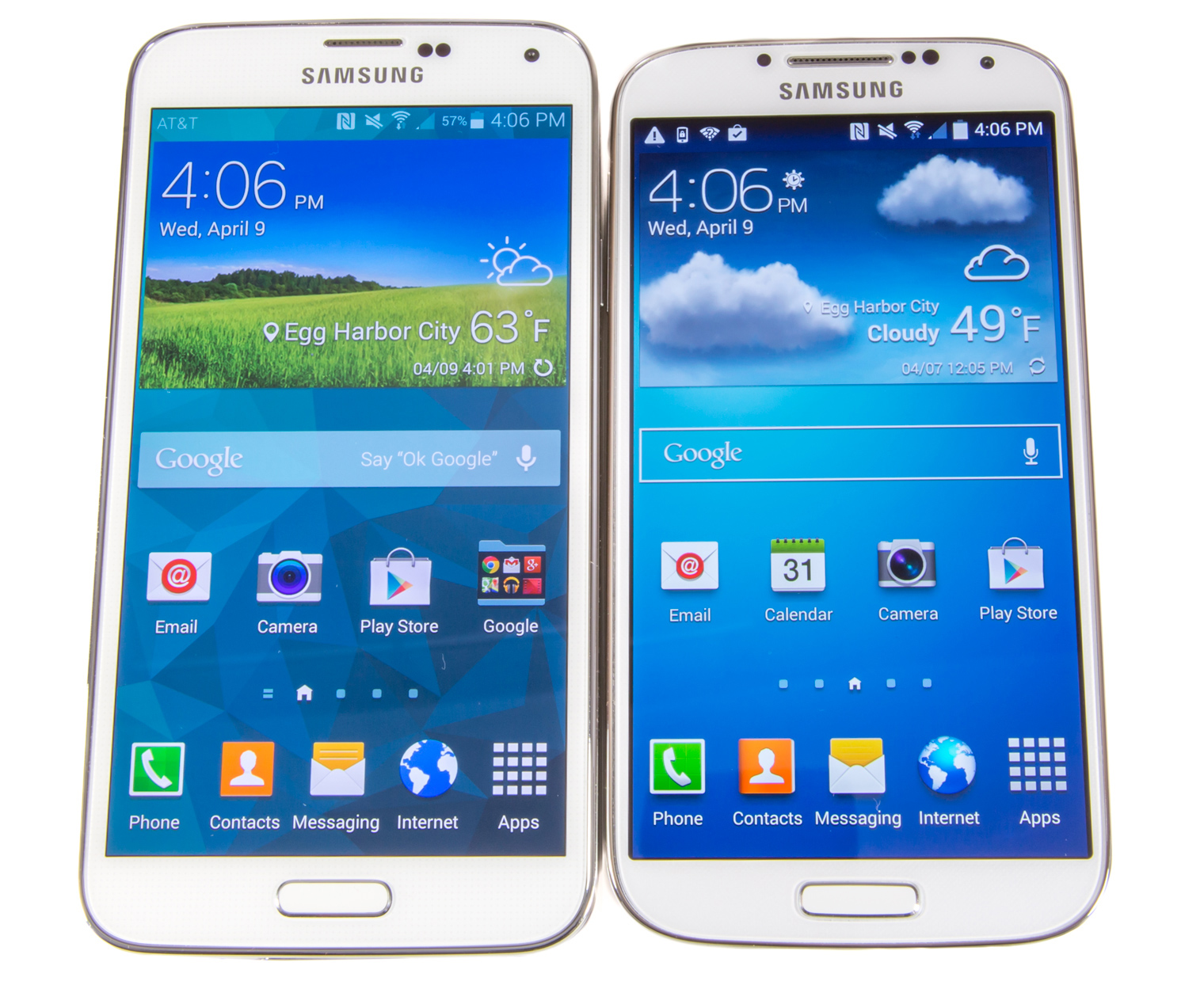 The Galaxy S5 (left) versus the Galaxy S4 (right). The S5 bezels need to go on a diet.