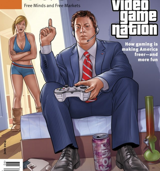The June issue of Libertarian-leaning magazine <em>Reason</em> reinforces a bunch of bad gaming stereotypes with its cover, but at least it puts the guy in a nice suit!