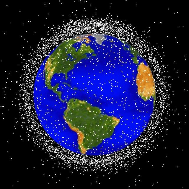 From NASA, space debris tracked as it orbits Earth.