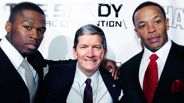 One, two, three, and to the four, Tim Cook and Dr. Dre are at your door.
