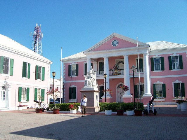 The Bahamas' Parliament building, near a cell tower. Every call that passed through that tower may have been recorded by the NSA.