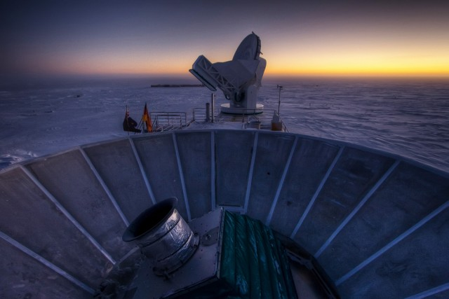 The BICEP telescope itself faces the Antarctic sunset and a very long, very cold winter.