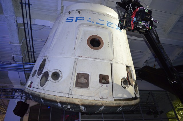 A flown SpaceX Dragon capsule.