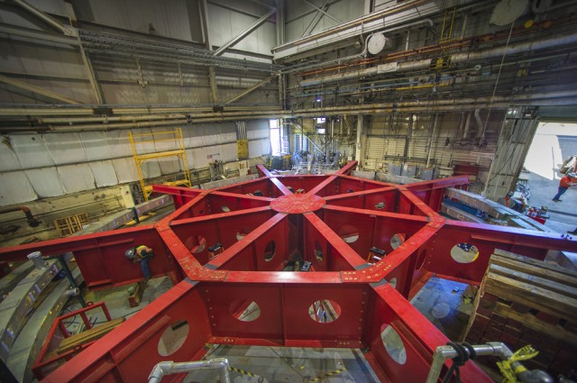 Preparations for muon experiments at Fermilab involved moving a giant magnet from Brookaven to Fermi.