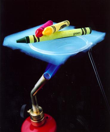 A small glimpse at aerogel capabilities—that's a trio of crayons on aerogel over a flame.