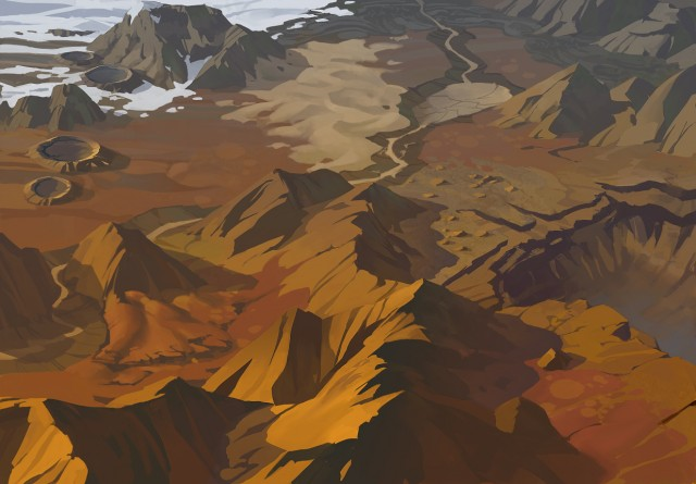 Concept art of a Martian landscape that will see players scrambling for resources in <i>Offworld Trading Company</i>.