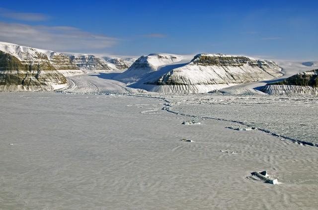 Coastline near Greenland's Petermann Glacier.
