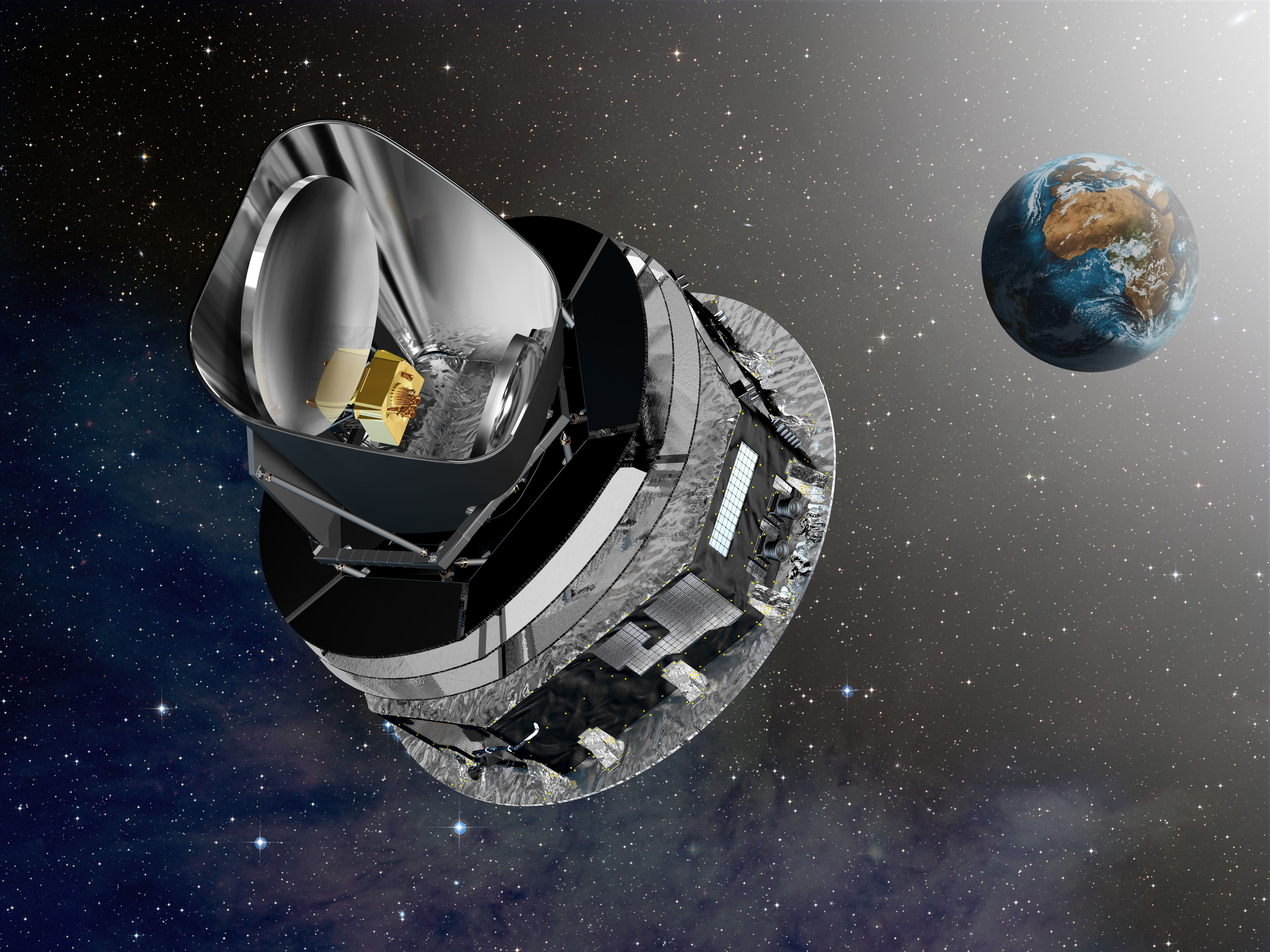 The Planck probe resides at the L2 Lagrange point. It was launched as part of a package with the Herschel infrared telescope.