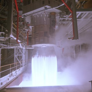 An RD-180 engine during a static test firing.