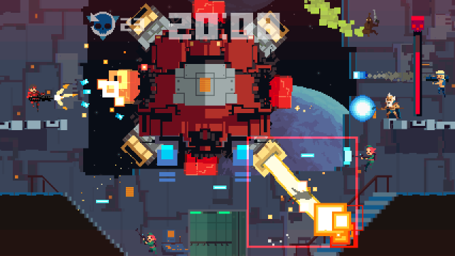 Every character in this <em>Super Time Force</em> screen, other than the central boss, is a player-controlled character from different points in time. Play and rewind a few times to rack up a full, simultaneous pack of blazing soldiers.