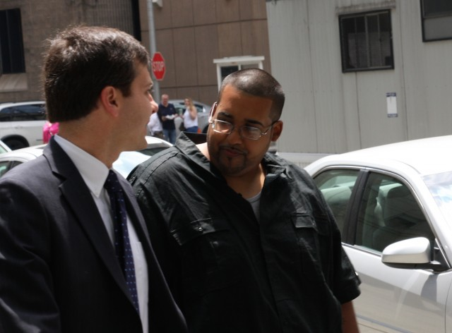 Monsegur leaving his sentencing hearing in Manhattan today.