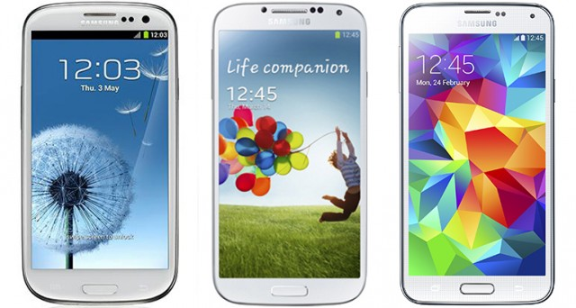 Samsung's flagship phones over the last three years—the Galaxy S3, S4, and S5.
