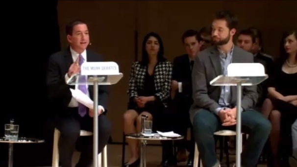 Greenwald and Ohanian on stage.