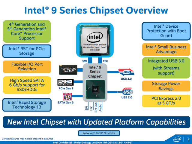 The 9-series chipsets pile a few new features on top of the previous-generation 8-series chipsets.