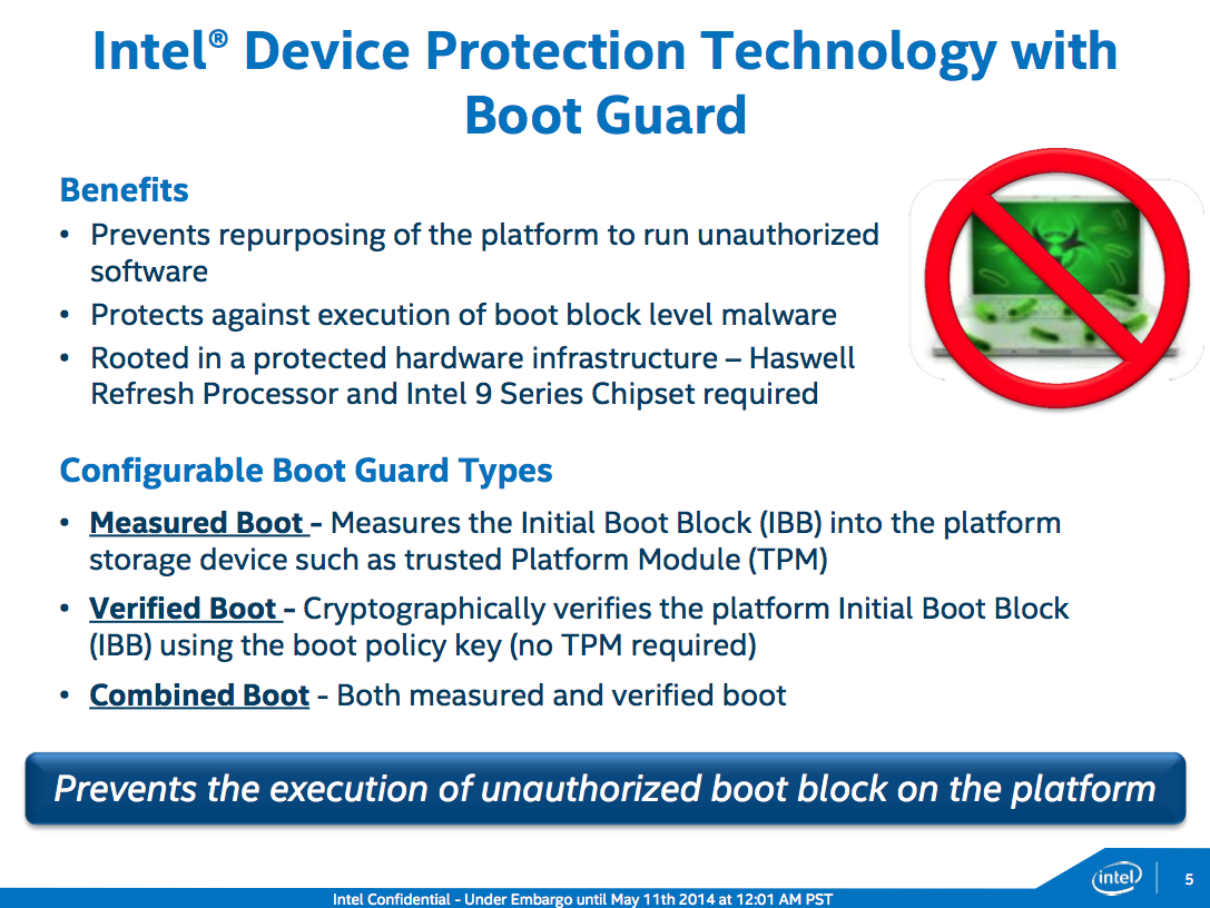 Device Protection Technology and Boot Guard are better suited for Android devices than PCs, but they're coming to the desktop anyway.