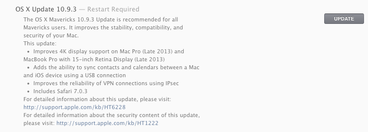 OS X 10.9.3 release notes.