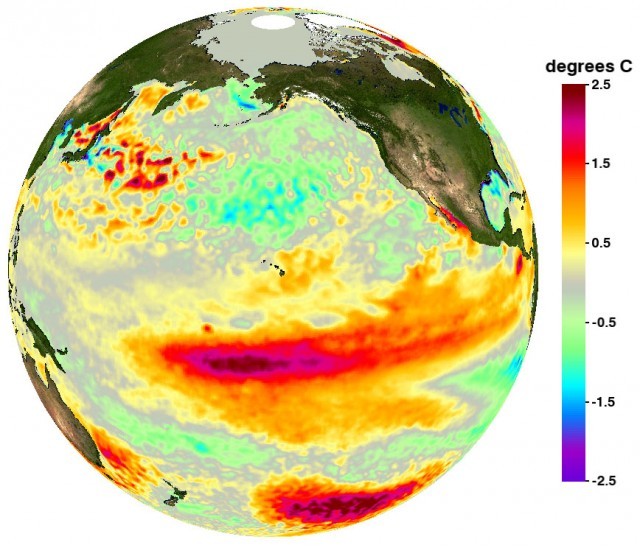 "Sea surface temperature anomaly (difference from average) during strong El Niño ""Modoki"" conditions in 2009-2010."