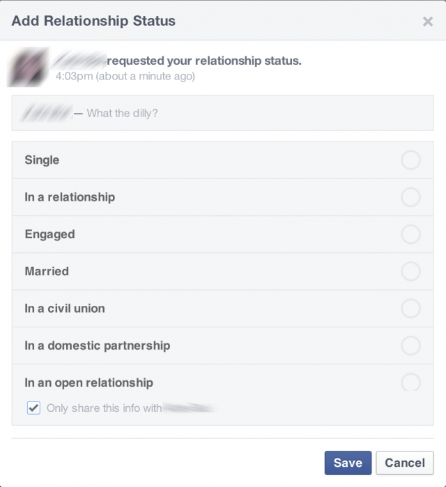 "Thanks to Facebook's new ""ask"" function, friends can ask ""what the dilly?"" about relationship statuses, careers, high schools, and much more."