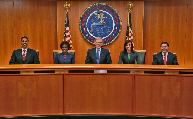 From left to right, FCC commissioners Ajit Pai, Mignon Clyburn, Chairman Tom Wheeler,  Jessica Rosenworcel and Michael O'Rielly.