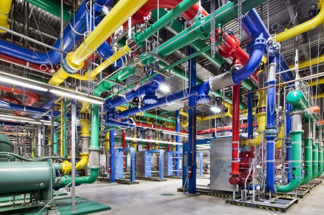 The mechanical plant at Google's data center in The Dalles, OR. Google continuously tracks performance of heat exchangers and other equipment in this image.
