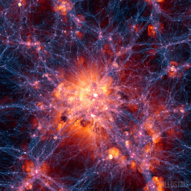 Gas clusters around a nexus of dark matter filaments within the new simulation.