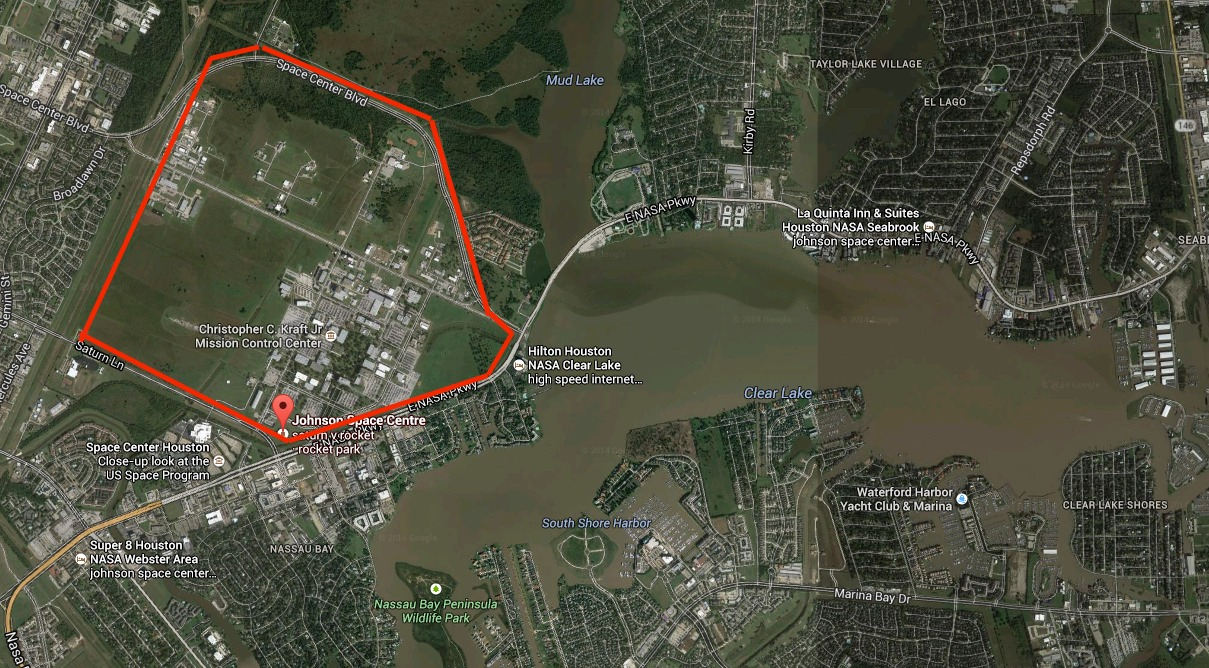 The Johnson Space Center (approximate outline in red) sits right on the edge of Clear Lake.