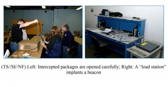 NSA techs perform an unauthorized field upgrade to Cisco hardware in these 2010 photos from an NSA document.