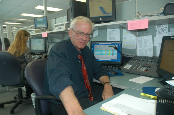 Philip Welsh working as a taxi dispatcher in 1998.