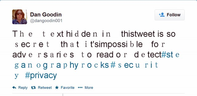 How to stash secret messages in tweets using point-and-click steganography