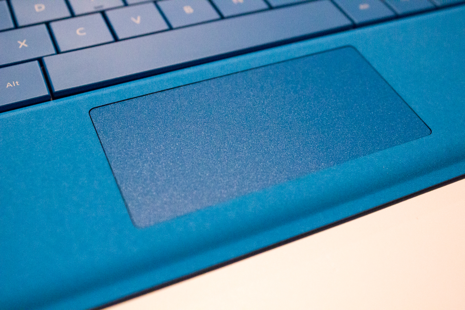 The new and expanded trackpad, which is extra wide but doesn't appear much taller.