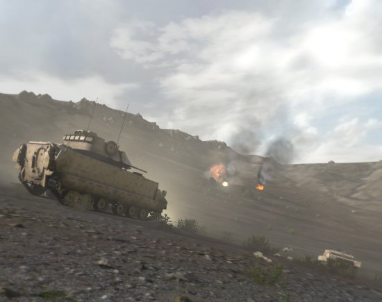 A screenshot from Virtual Battlespace 3, the Army's new training simulator.