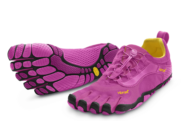 A pair of Vibram FiveFinger running shoes, which the company used to claim gave wearers certain health benefits.