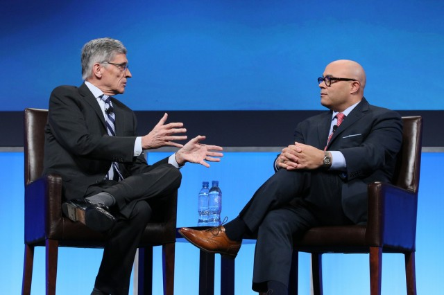FCC Chairman Tom Wheeler and former FCC Chairman Michael Powell at a recent cable industry event.